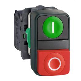 Pulsador Partir-parar 22mm Rojo-Verde 1Na+1Nc Ip66