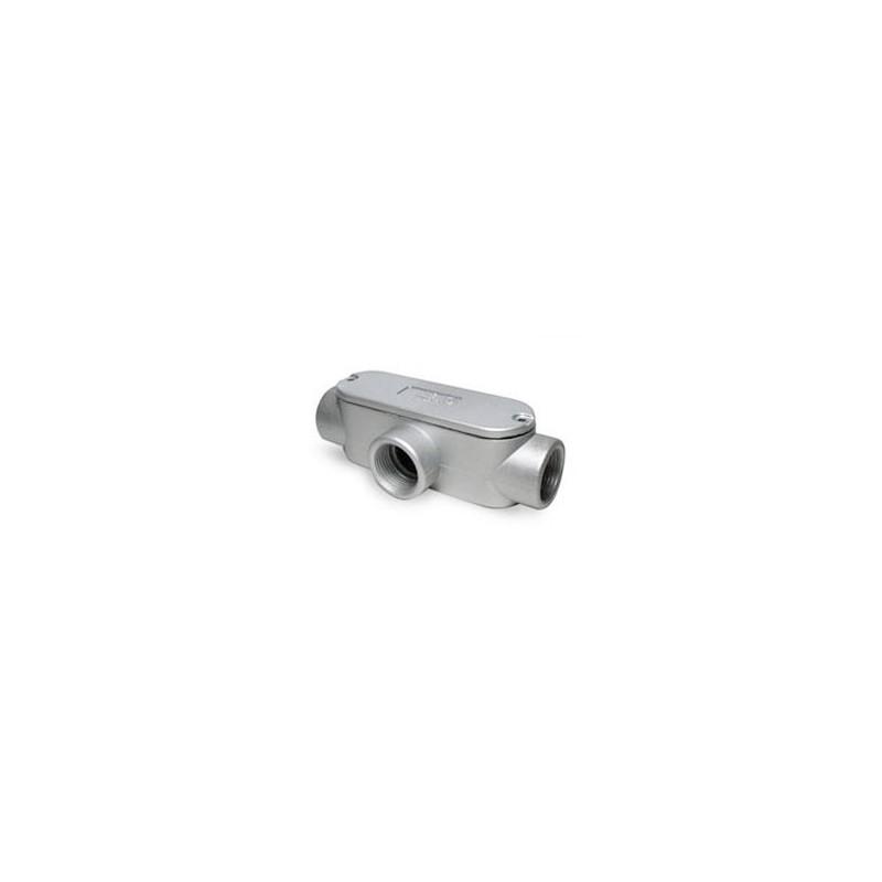 "Condulet ""T"" Aluminio 1"" diámetro con tapa y empaquetadura.-Bm Electric"