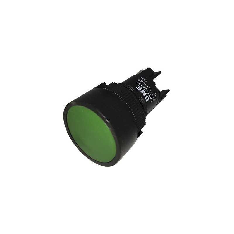Pulsador Rasante 22 mm Verde 1Na Linea Economica-Bm Electric