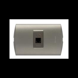 Enchufe Embutido Armado Simple Telefono Terra/Mink  Conector Rj11 - Bticino