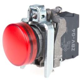 Luz piloto 22 mm metalico rasante LED rojo con lente claro 110…120V AC Schneider