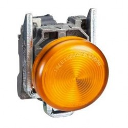 Luz piloto 22 mm metalico rasante LED naranjo con lente claro - 110…120V AC Schneider