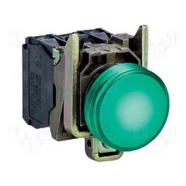 Luz piloto 22 mm metalico rasante LED verde con lente claro - 230…240V AC Schneider