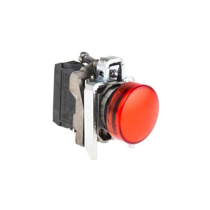 Luz piloto 22 mm metalico rasante LED rojo con lente claro - 230…240V AC Schneider