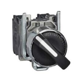 Selector 22 mm metalico negro 3 posiciones spring return - 2NA  Schneider