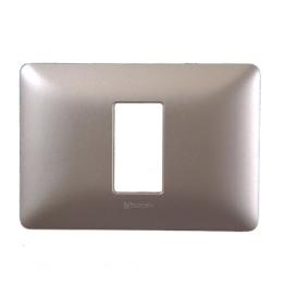 Placa 1 modulo  plastico Titanio Claro Bticino
