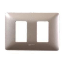 Placa 2 modulo  plastico Titanio Claro Bticino