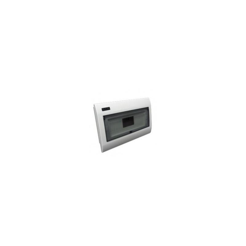 Tablero Modular Embutido Plastico 8 Modulos 1 Fila Tapa Transparente