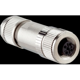 Conector hembra M12, 4 polos.