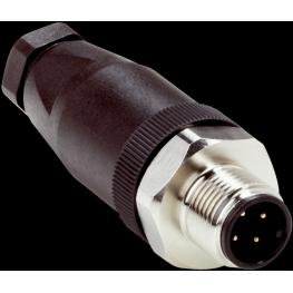Conector macho M12, 4 polos.