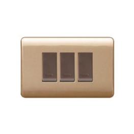 Interruptor Embutido Armado Triple 9/32 16A 250V Dorada/Café  Ex.44359 Genesis