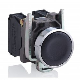 Pulsador 22 mm metalico rasante negro - NA Schneider