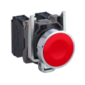 Pulsador 22 mm metalico rasante rojo - NC  Schneider