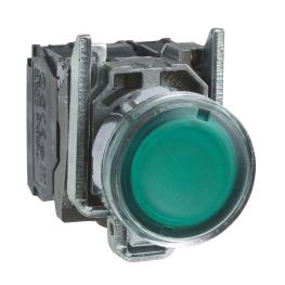 Pulsador 22 mm metalico iluminado verde - NANC -24V Schneider