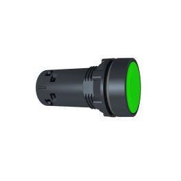 Pulsador 22 mm monolitico circular verde spring return - NA  Schneider